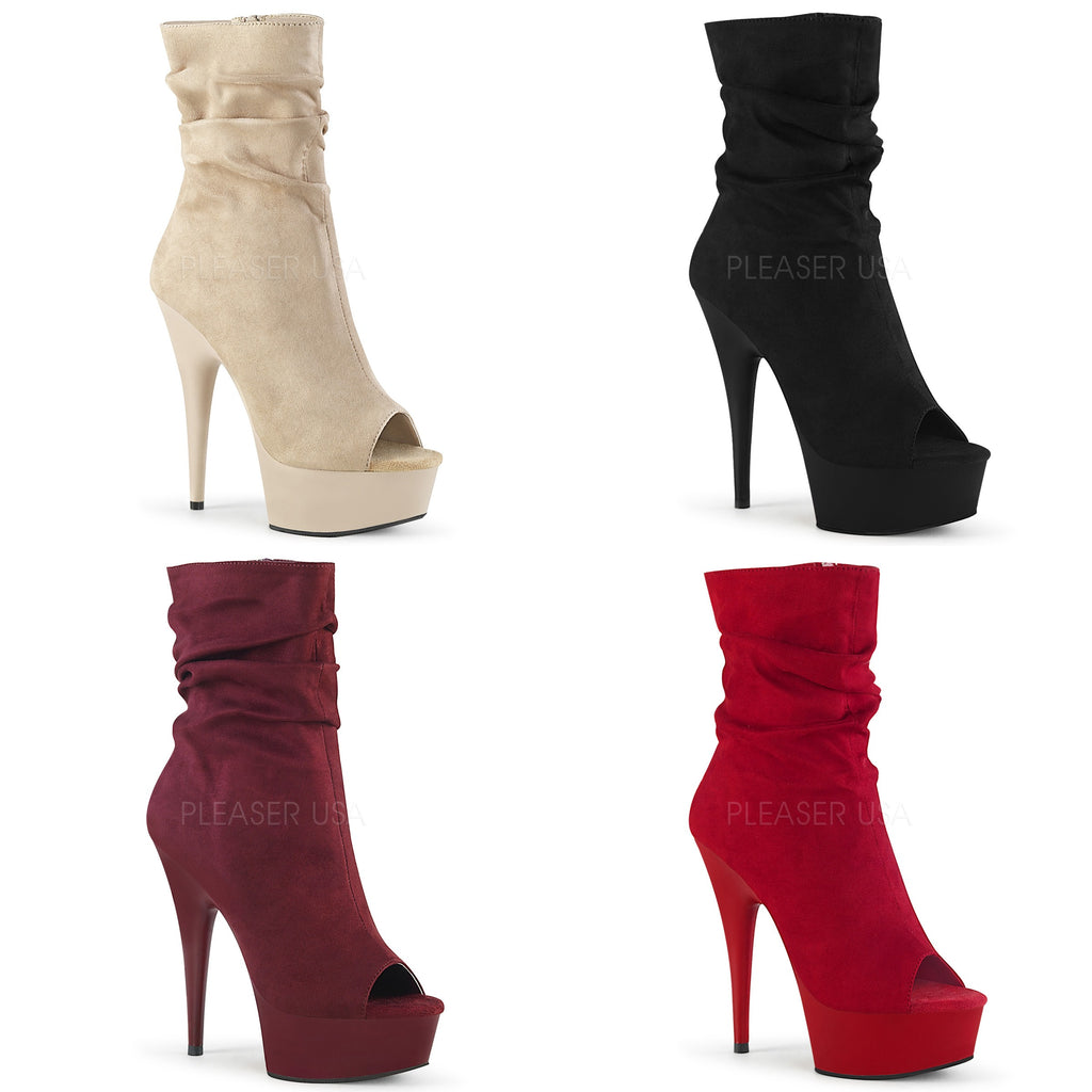 "PLEASER Delight-1031 Beige Black Burgundy Red Faux Suede Peep Toe 6"" Boots Heels - A Shoe Addiction"