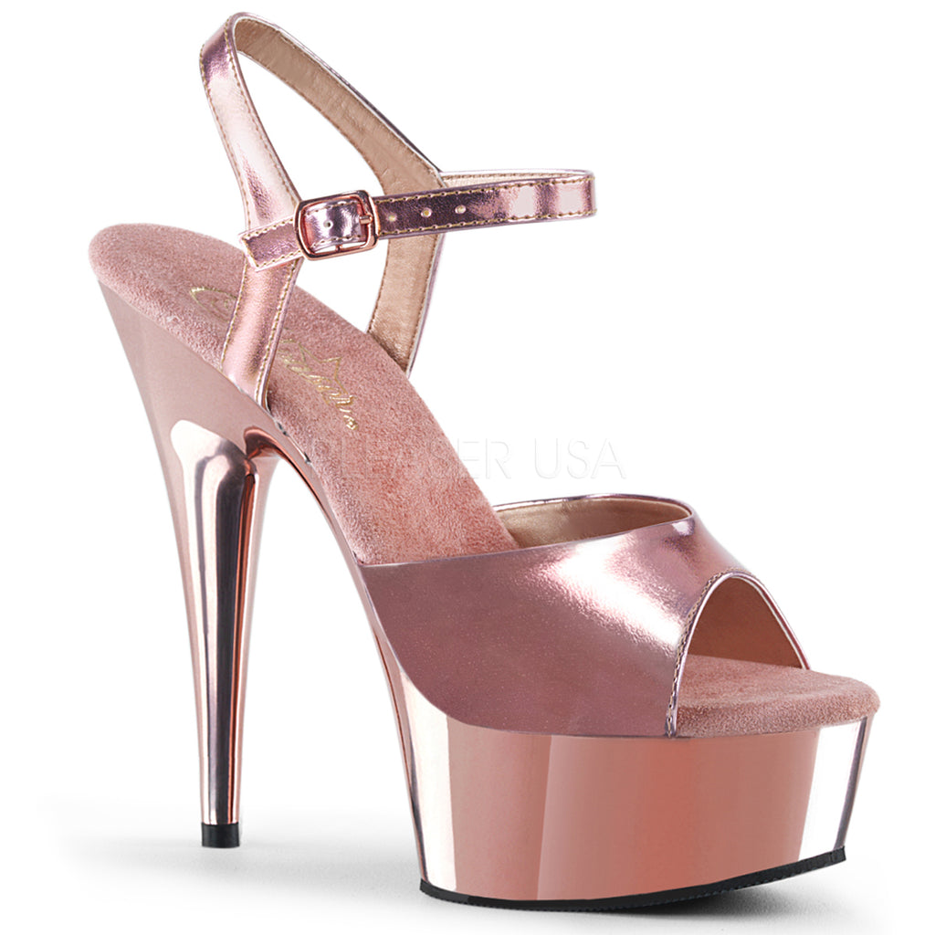 "PLEASER Delight-609 Red Silver Rose Gold Chrome Dancer Club Ankle Strap 6"" Heels"