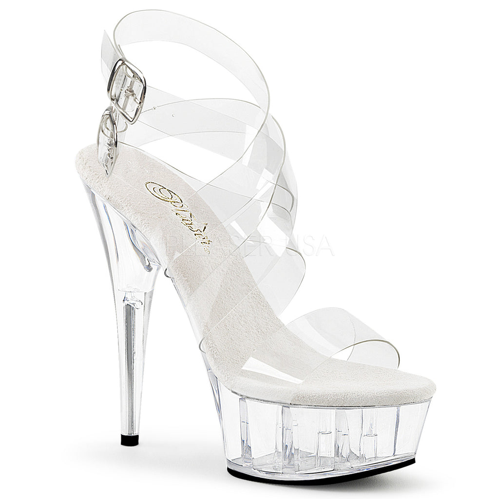 "PLEASER Delight-635 Clear Double Criss Cross Strappy Platform Sandals 6"" Heels"