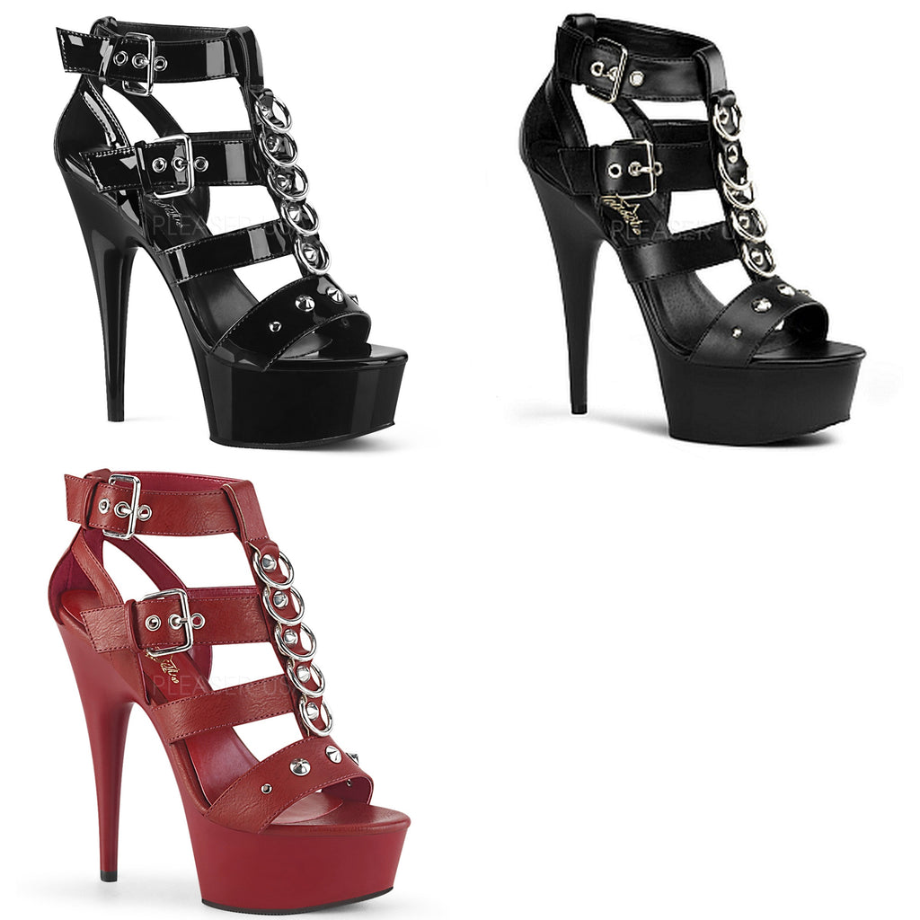 "PLEASER Delight-658 Strappy T-Strap Metal Rings Studs Cage Club Sandals 6"" Heels"
