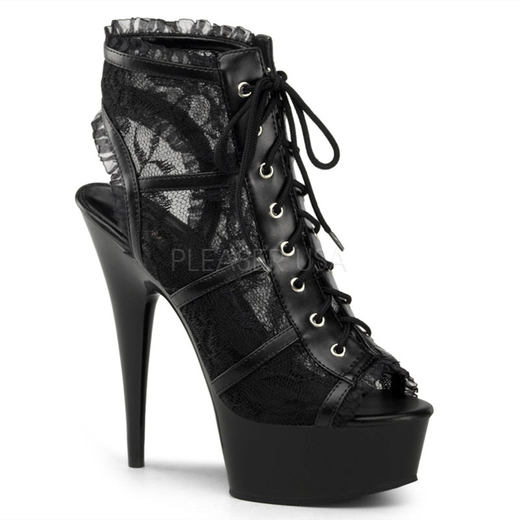 "PLEASER Delight-696LC Black Lace Goth Sexy Platform Booties Open Toe 6"" Heels"