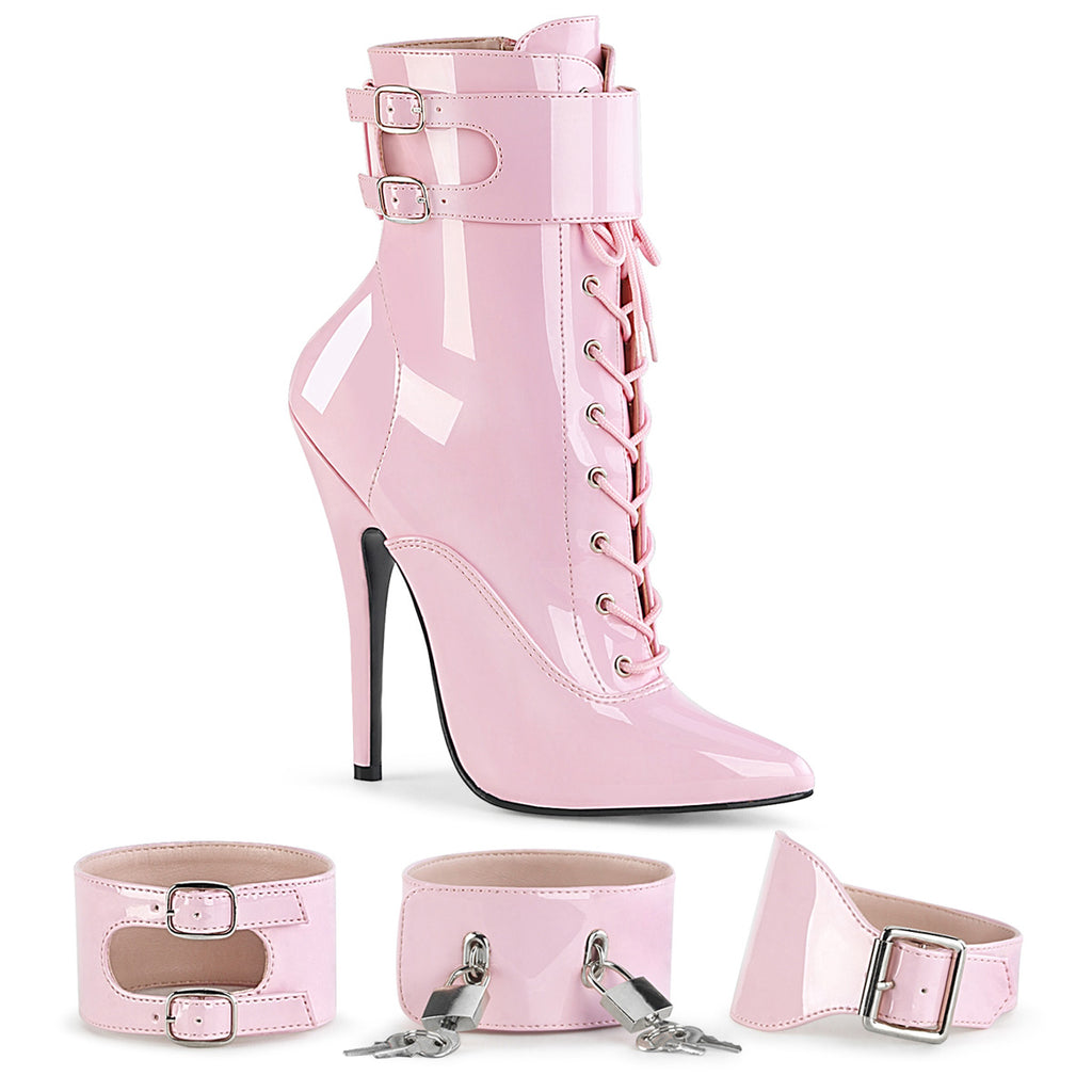"DEVIOUS Domina-1023 Fetish 3 Sets Ankle Cuffs Drag 6"" Heels Boots Women's 5-15 - A Shoe Addiction"
