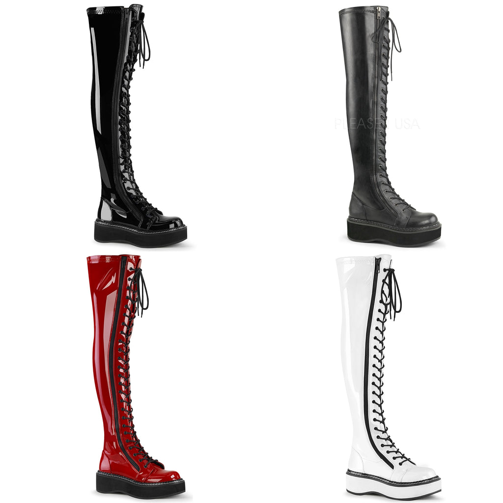 Red Patent Thigh High Punk Rock Goth Lace Up Boots Womans Demonia Emily-375