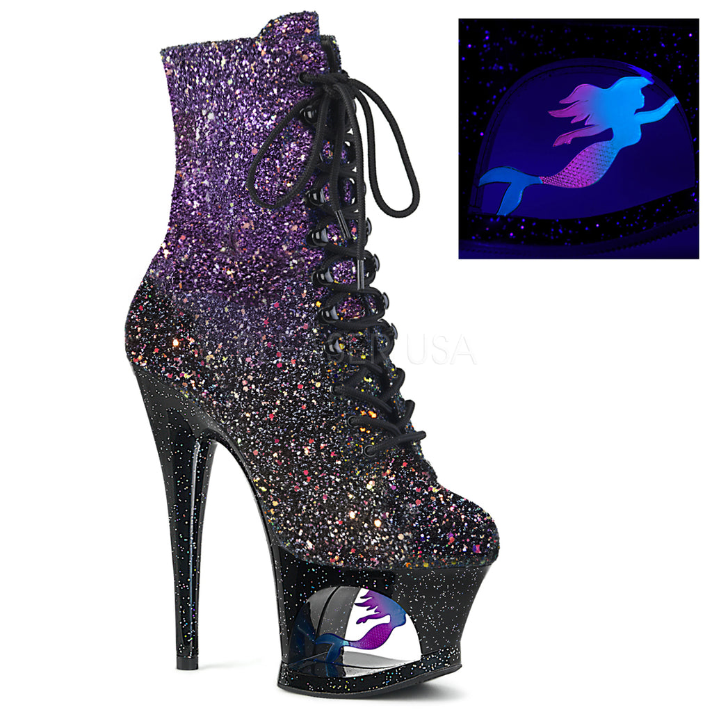 "PLEASER Moon-1020MER Purple Black Ombre Glitter Mermaid Stripper Pole 7"" Boots"