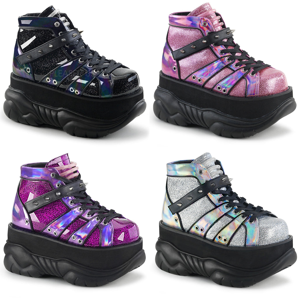 DEMONIA Neptune-100 Glitter Mens Unisex UV Reactive Goth Punk Cyber Platform Boot - A Shoe Addiction