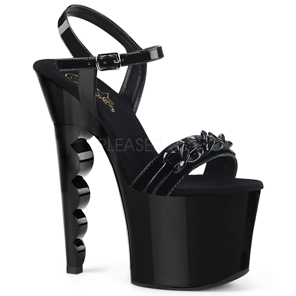 "Discontinued PLEASER Scallop-712 Chain Stripper Pole Dance Platform 7"" Scalloped Heel - A Shoe Addiction"