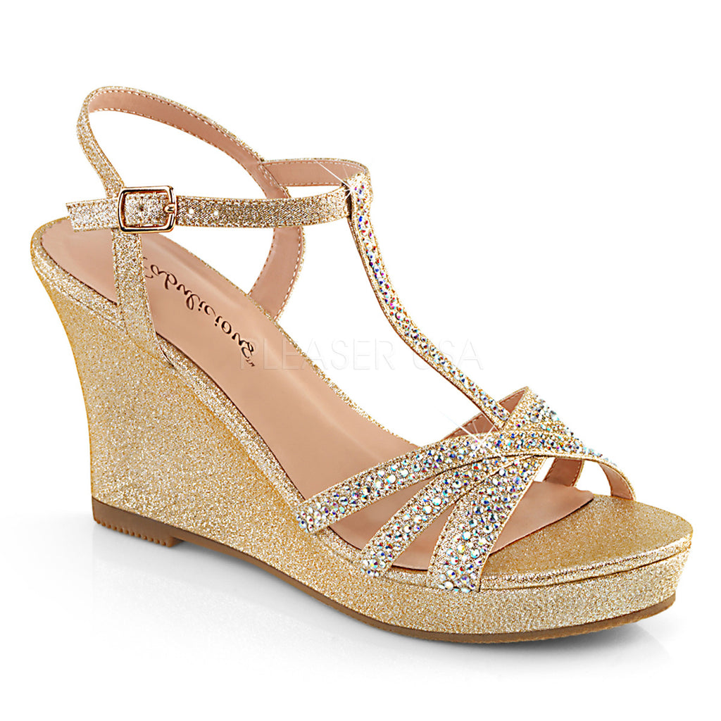 IN STOCK / SALE - FABULICIOUS Silvie-20 Champagne Rhinestone Wedding Dress Wedges AU Sz 8