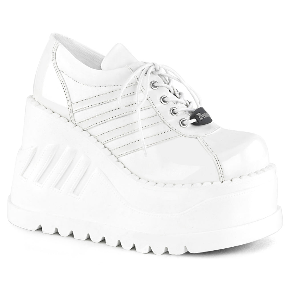 DEMONIA Stomp-08 Women's Punk Cyber Lace Up Zip Wedge Platform Shoes Sneakers - A Shoe Addiction
