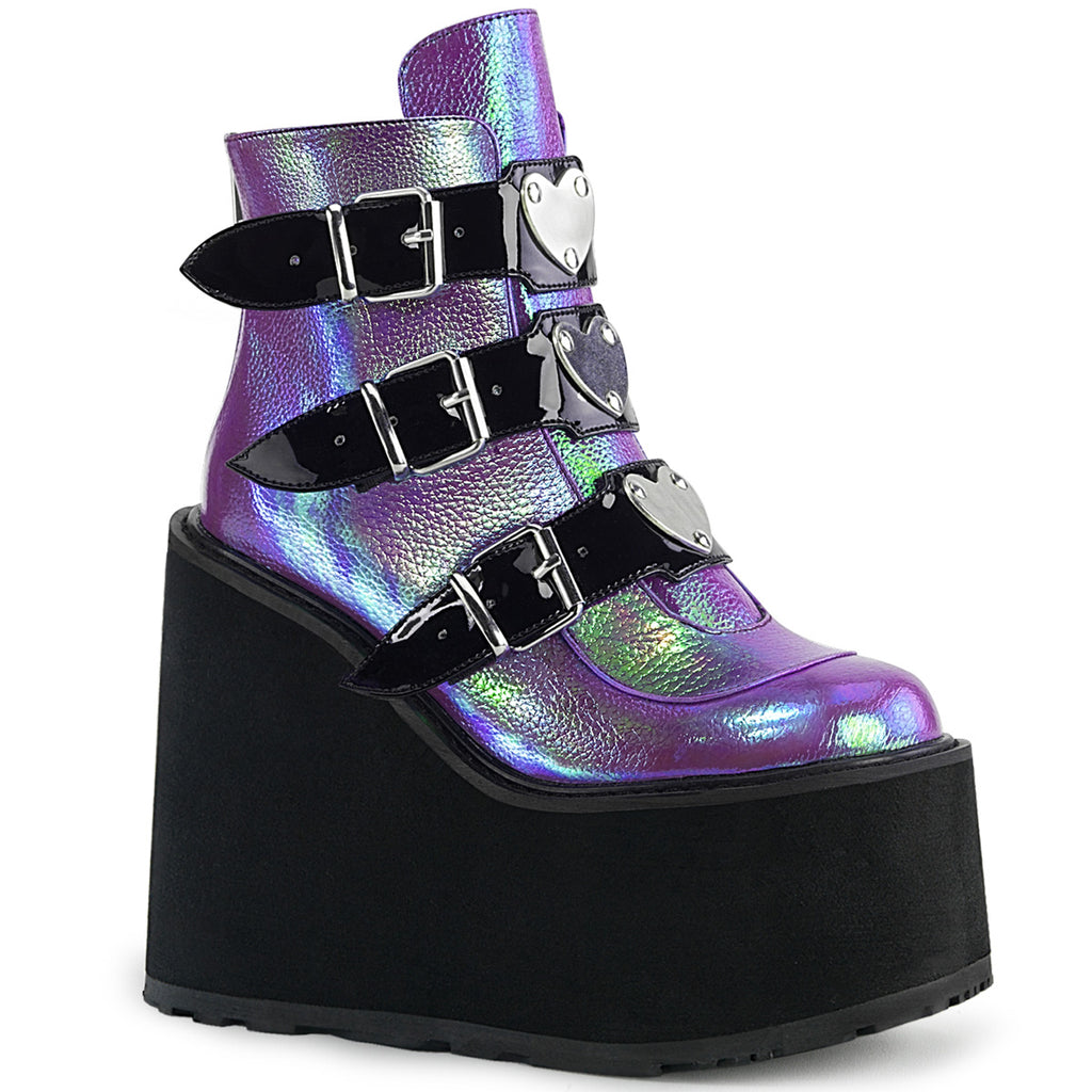 DEMONIA Swing-105 Chrome Metal Heart Plates Goth Punk Platform Wedge Ankle Boots - A Shoe Addiction