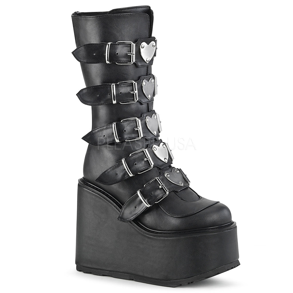 DEMONIA Swing-230 Women's Goth Metal Heart Plates Rainbow Platforms Wedges Boots - A Shoe Addiction