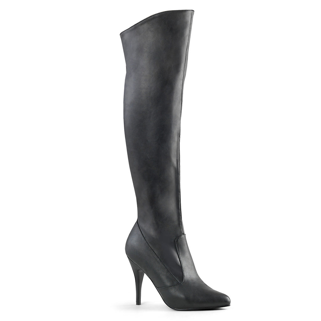 "Discontinued PLEASER Vanity-2013 Faux Leather Knee Boot 4"" Heel Women Size 5-13 - A Shoe Addiction"