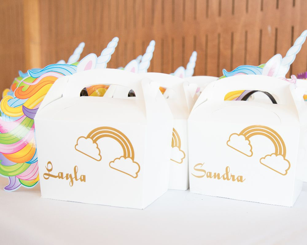 Unicorn gifts for each guest with personalised names