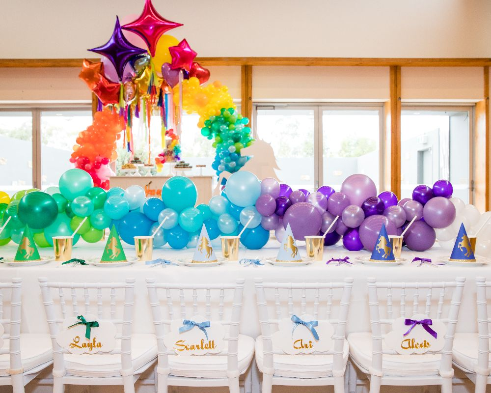 Green, blue and purple tone balloon decorations