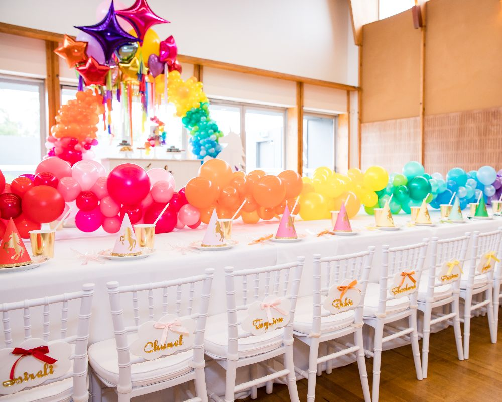 Vibrant Rainbow Kids Party Idea for Table
