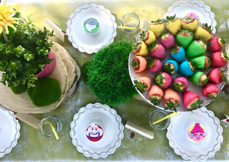 Trolls Movie character cupcakes and table setting