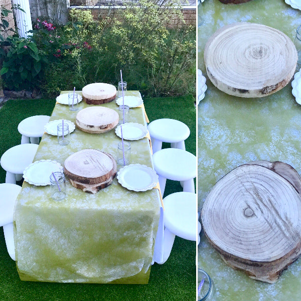 Wood Stump centre pieces to layer Kids Party Table