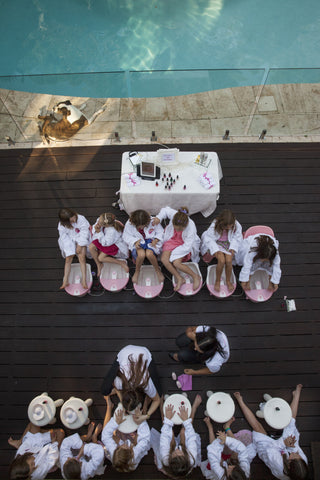 bird's eye view of a kids pamper party set up in a Sydney location