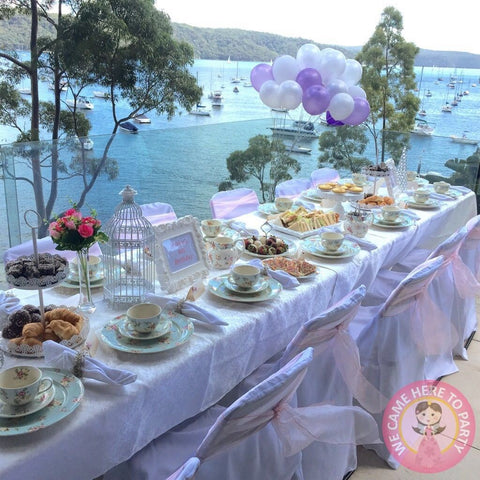 Floral Kids High Tea Party set up on a balcony in Northern beaches