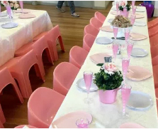 kids size trestle tables used for a kids fairy party table set up