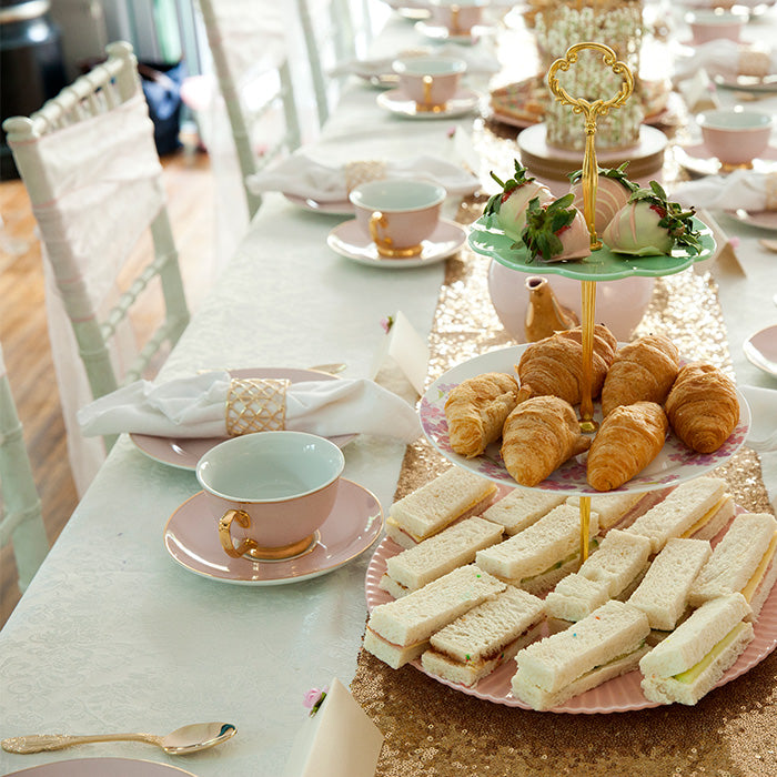 themed pink high tea set up