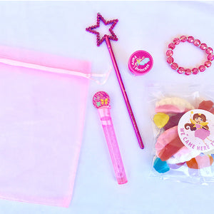 Themed pink party favour bag