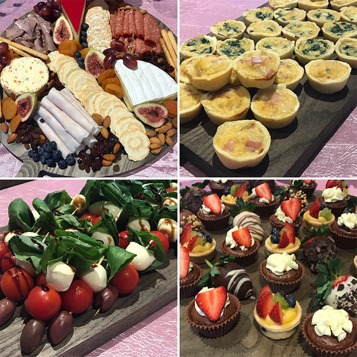 a selection of adult finger foods for a party