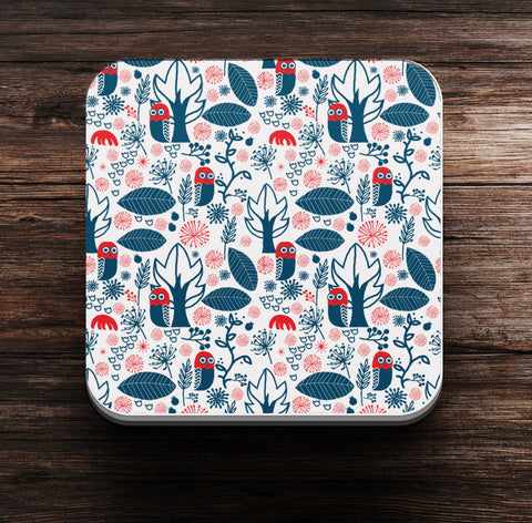 Night and Owl Pattern Coaster and Magnet - Coaster