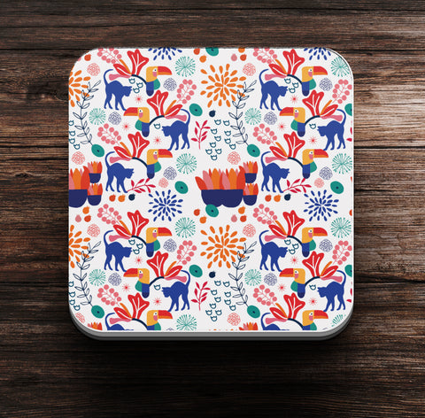 Cat in the Garden (I) Pattern Coaster and Magnet