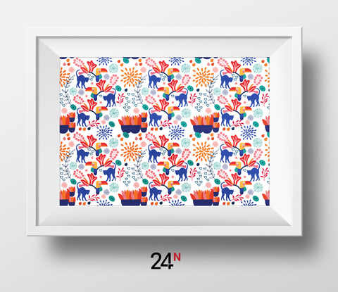 Cat in the Garden (I) Pattern Posters