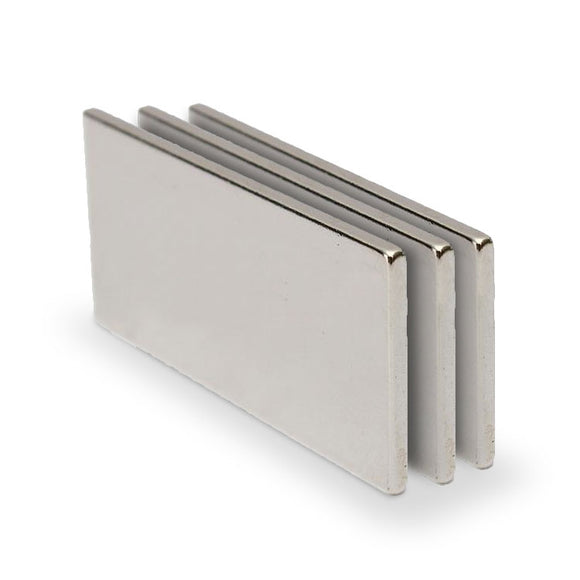 3 Pack Flat 40 x 20 x 2mm Neodymium Block Magnets N35
