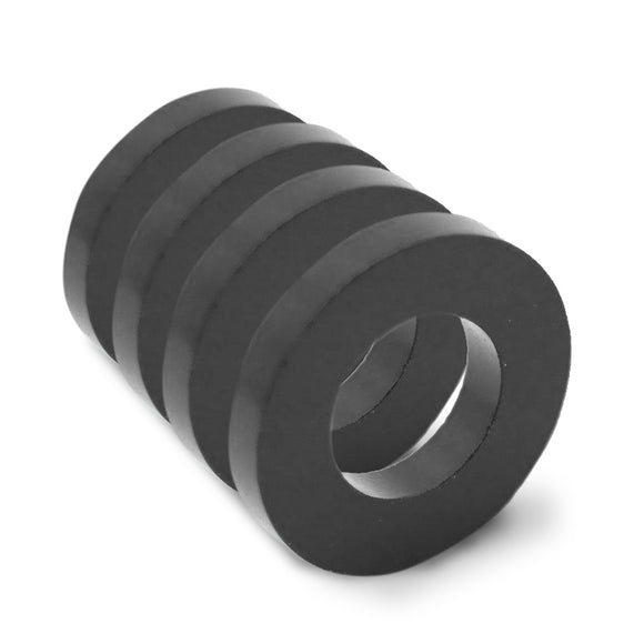 4 Pack Round 30mm x 5mm Neodymium Diametrically Magnetized Black Epoxy Ring Magnets w/ 5mm Hole