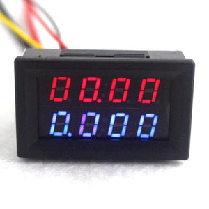 Digital DC Voltmeter Ammeter Dc-200V 10A Red/Blue LED Display