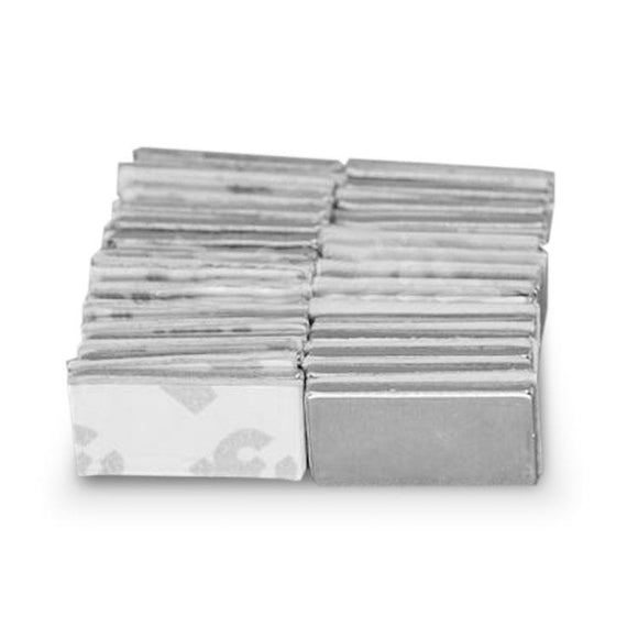 48 Pack 20 x 10 x 3mm Neodymium Bar Magnets w/ Adhesive N42