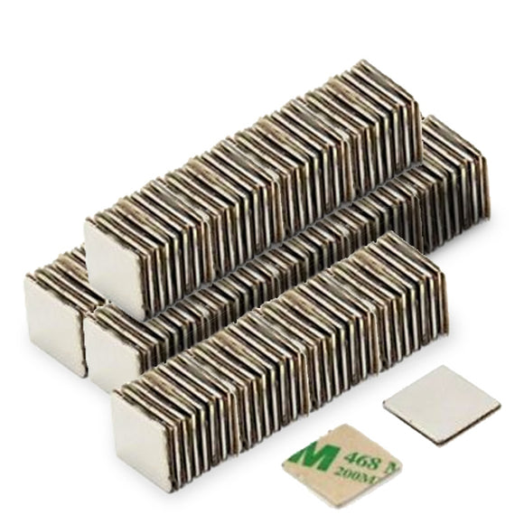 200 Pack 15 x 15 x 1mm Square Neodymium Block N42 Magnets w/ Adhesive