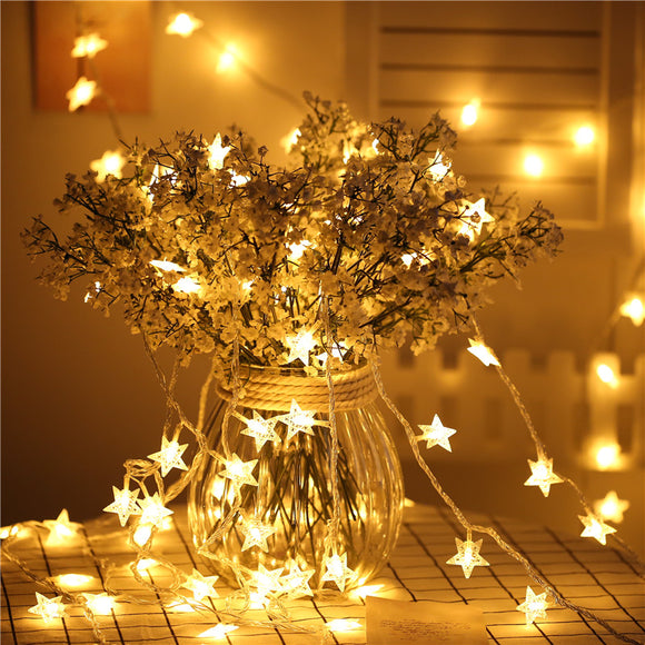 5 Metres Star Shaped Battery Operated Fairy String LED Lights