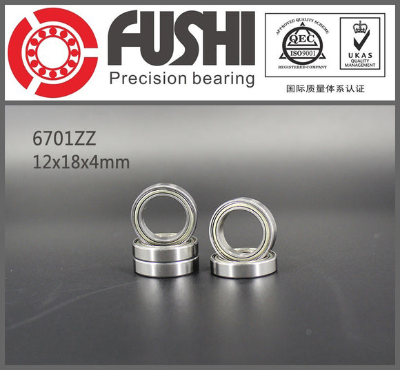 10 Pack 6701-ZZ Steel Deep Groove Ball Bearings 12x18x4mm