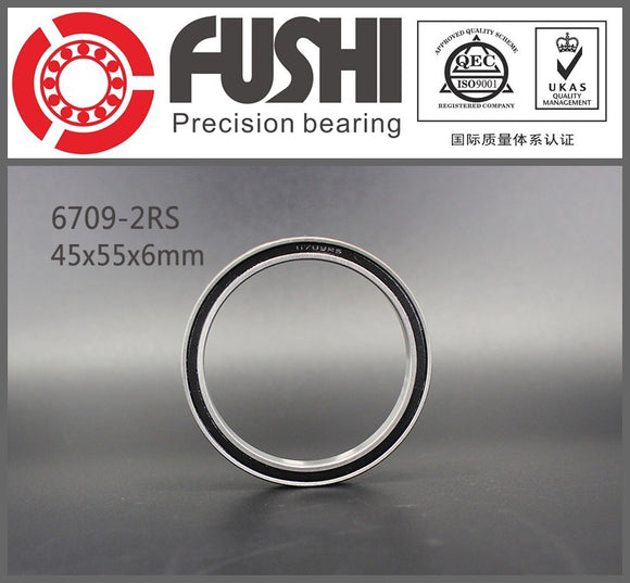 4 Pack 6709-2RS Steel Deep Groove Ball Bearings 45x55x6mm