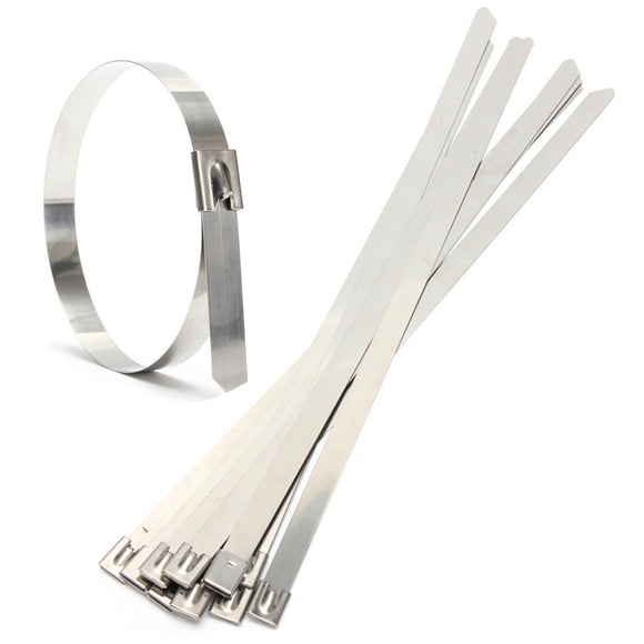 10 Pack 10mm x 400mm Stainless Steel Metal Cable Zip Tie