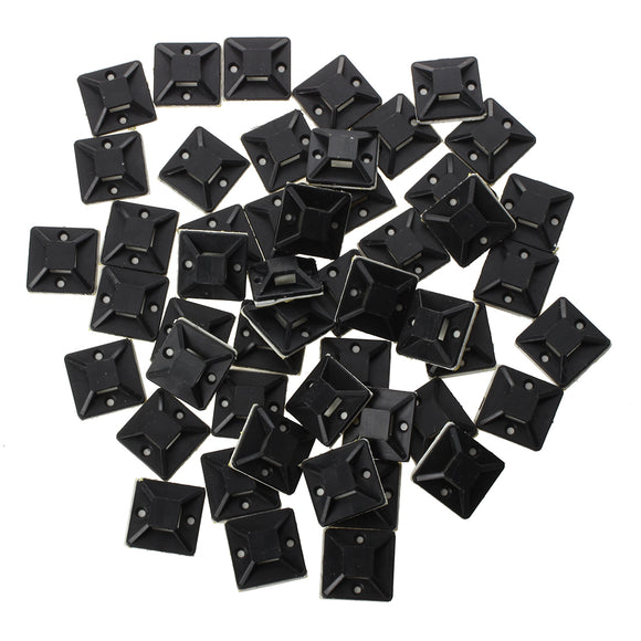 50 Pack Cable Tie Base Mounts with Self-Adhesive