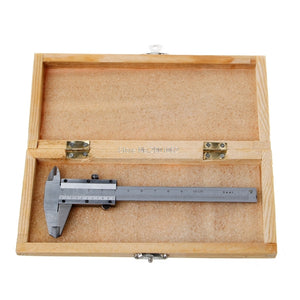 Mini Vernier Stainless Steel Caliper 0 - 100mm Range Inc. Wooden Case