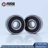 5207-2RS Steel Double Row Angular Contact Ball Bearings 35x72x27mm