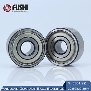 5304-ZZ Steel Double Row Ball Angular Contact Bearings 20x52x22.2mm