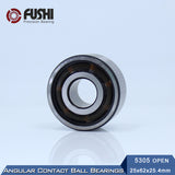 5305 Double Row Angular Contact Open Steel Ball Bearing 25x62x25.4mm