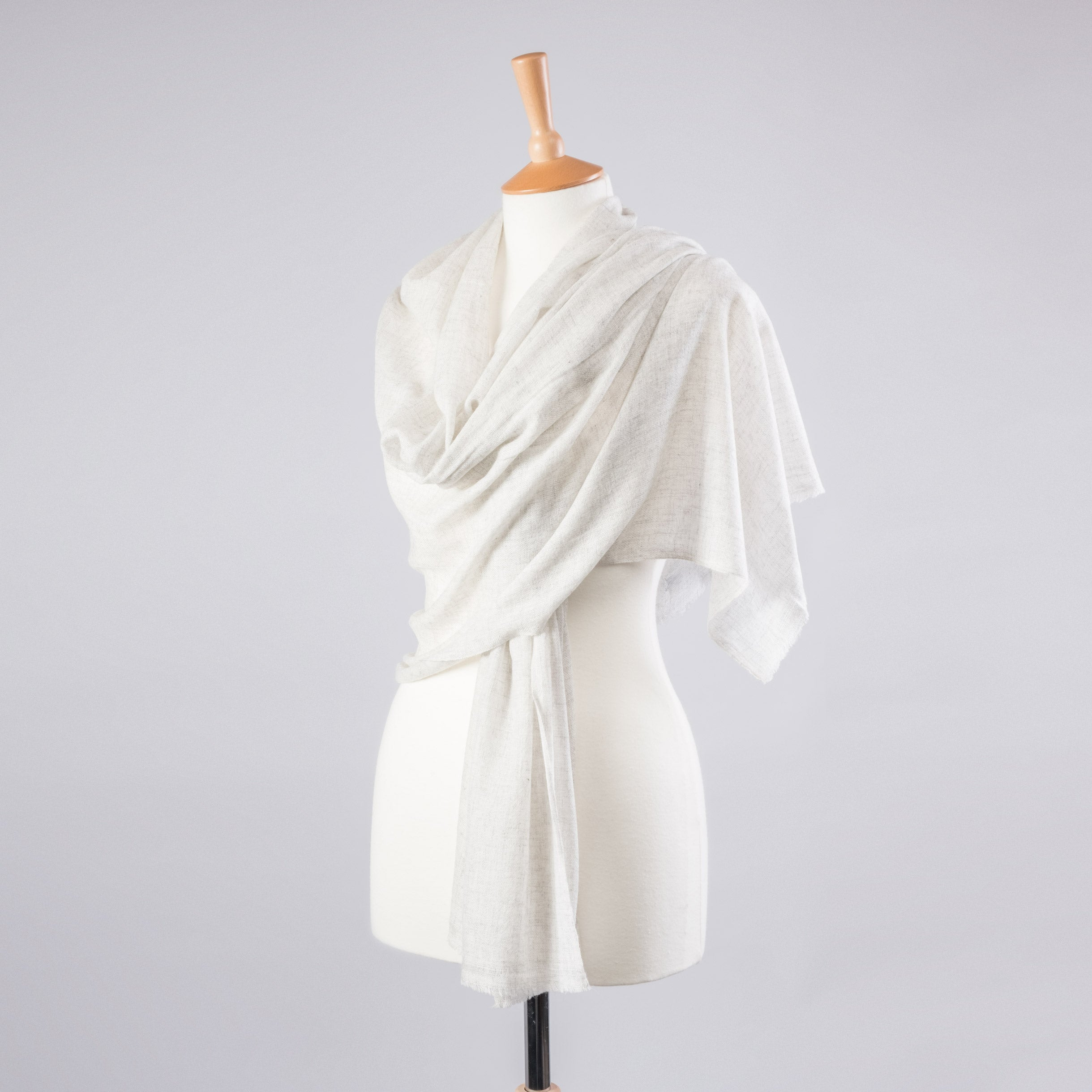 pashmina wrap natural plain ivory white cashmere wool blend fair fibres. Black Bedroom Furniture Sets. Home Design Ideas