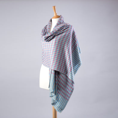 Women's Pink Blue Checked Cashmere Wool Pashmina Shawl Wrap