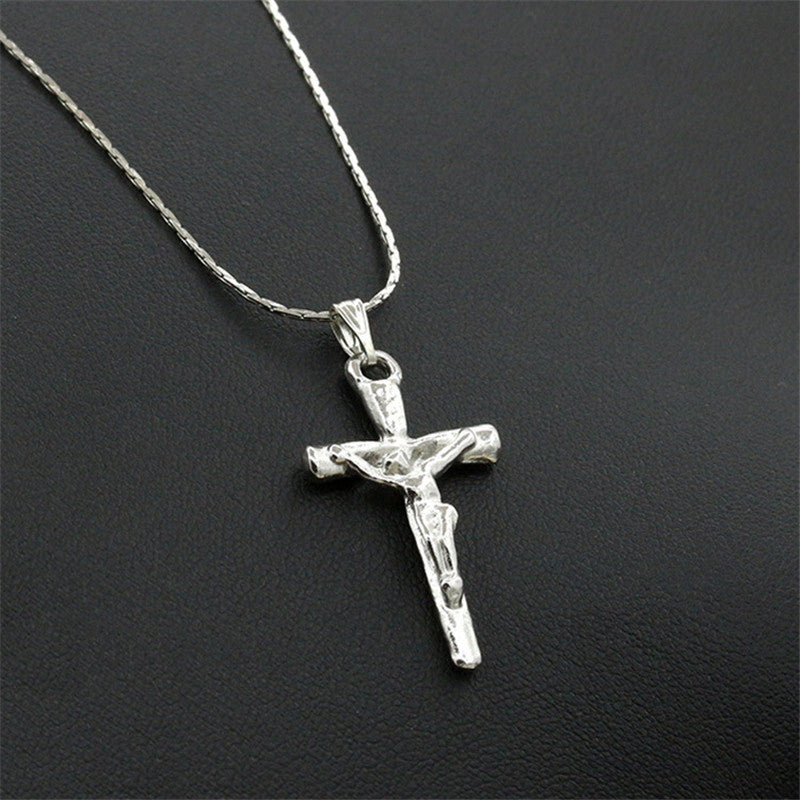 Fashion Trendy Stainless Steel Simple Little Cross Pendant Necklace Clavicle Chain Necklace