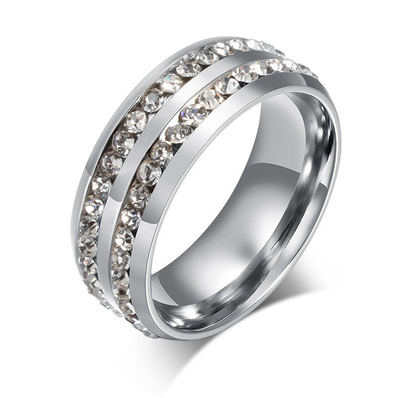 Luxurious CZ Diamond Itanium Steel Finger Ring Double Design Crystal Rings Hot Selling