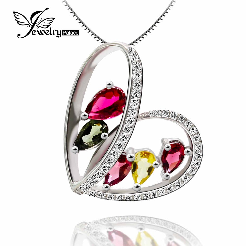 Heart Sri Lanka Natual Tourmaline Gemstone Pendant Real Solid 925 Sterling Silver Best Gift For Friend mean passion and love