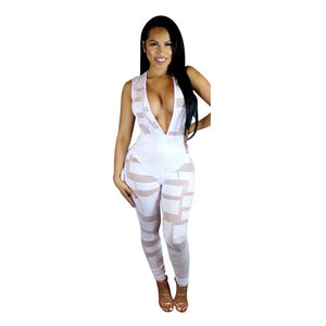 Deep V-neck Party Bodycon Jumpsuit Women
