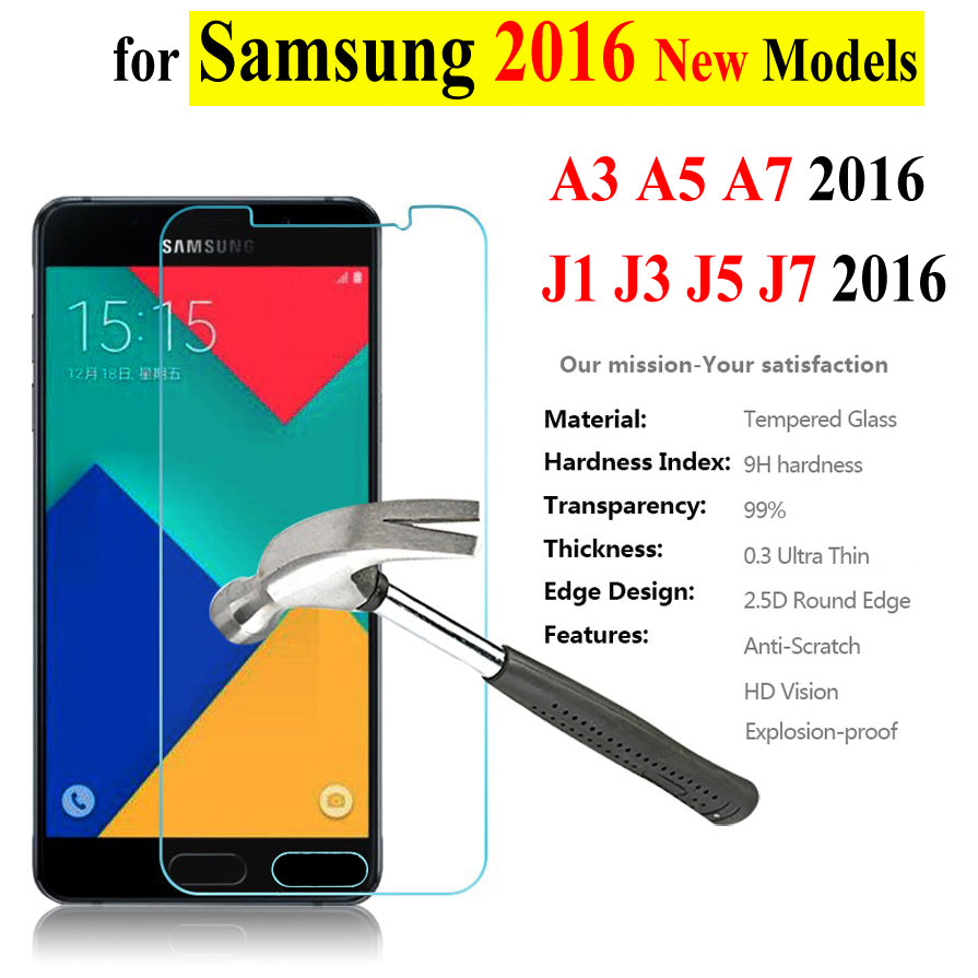 0.3mm Tempered Glass For Samsung Galaxy A3 A5 A7 A310F A510F A710F A7100 J1 J120F J3 J5 J7 2016 Screen Protector Film Phone Case